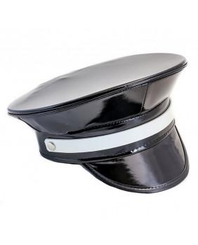 Casquette cyber goth vinyl noir et blanc