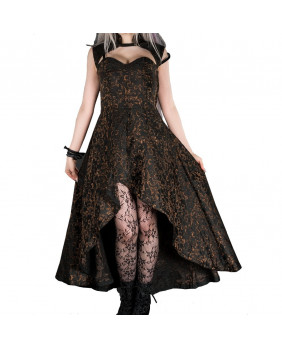 Robe longue gothique victorienne noire et dorée