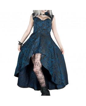 Robe longue gothique victorienne noire et bleue