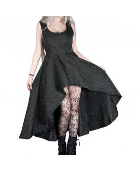 Robe longue gothique romantique en brocart noir