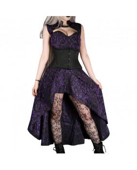 Robe longue gothique victorienne noire et violette