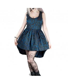 Robe courte gothique romantique victorienne noire et bleue