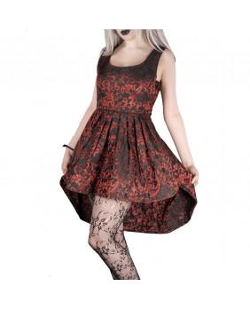 Robe courte gothique romantique victorienne noire et rouge