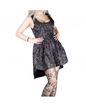 Robe gothique romantique victorienne courte noire et violette