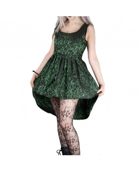 Robe gothique romantique victorienne courte noire et verte