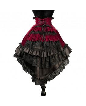 Jupe gothique romantique en velours rouge
