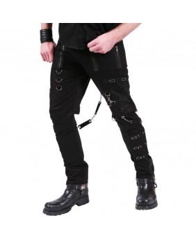 Pantalon gothique rock métal punk avec toile d'araignée