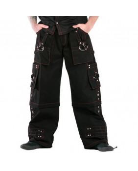 Pantalon baggy gothique cyber métal noir et rouge