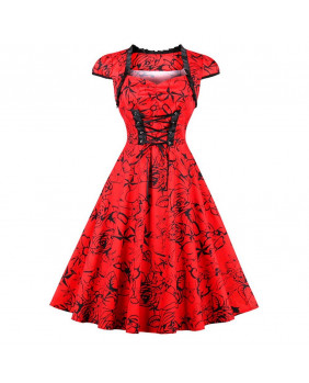 Robe vintage pin up rockabilly rouge