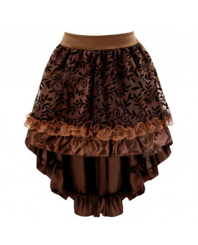 Jupe satin marron steampunk victorienne gothique