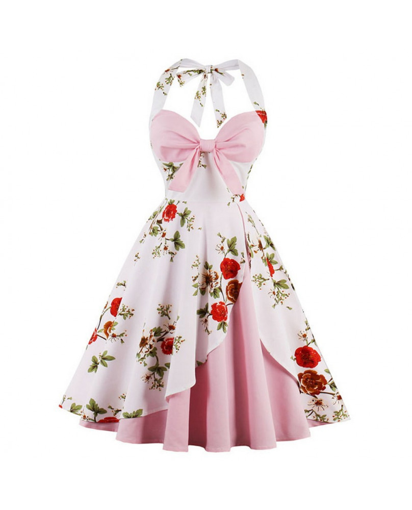 Robe vintage retro rose et blanche à fleurs