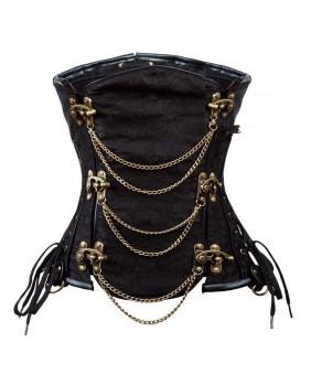 Serre taille gothique steampunk jacquard noir et chaînes