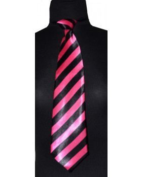 Cravate noire et rose à élastique