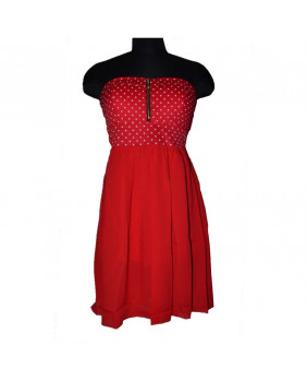 Robe courte Pin-Up rouge à pois