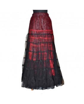Jupe longue noire et rouge