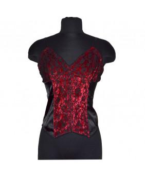Bustier gothique romantique noir et rouge