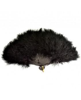 Eventail gothique plumes noires