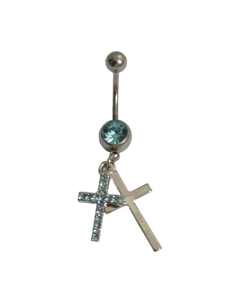 Piercing de nombril croix bleue