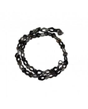Collier chaîne noir et argent