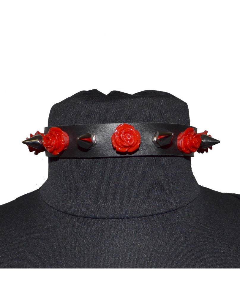 Tour de cou cuir roses rouges