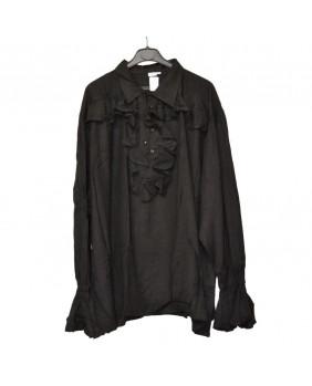 Chemise gothique noire à jabot