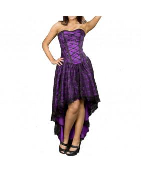 Robe violette avec dentelle noire