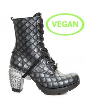 New Rock VEGAN M.TR001X-VS18 bottines Gothiques noires et grises en cuir Vegan