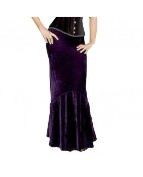 Jupe longue en velours violet