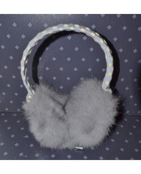 Cache oreilles gris et bleu