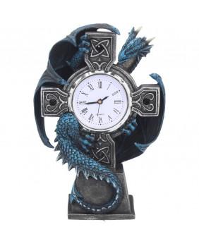 Horloge dragon bleu sur croix Draco