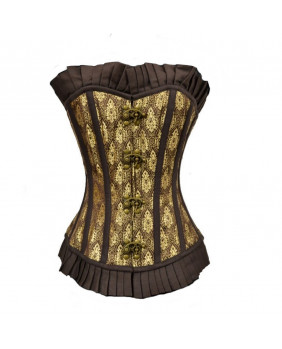 Corset steampunk victorien marron et or