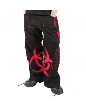 Pantalon cyber gothique noir et rouge
