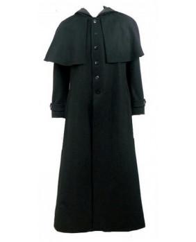 Manteau de cocher en laine noir et capuche