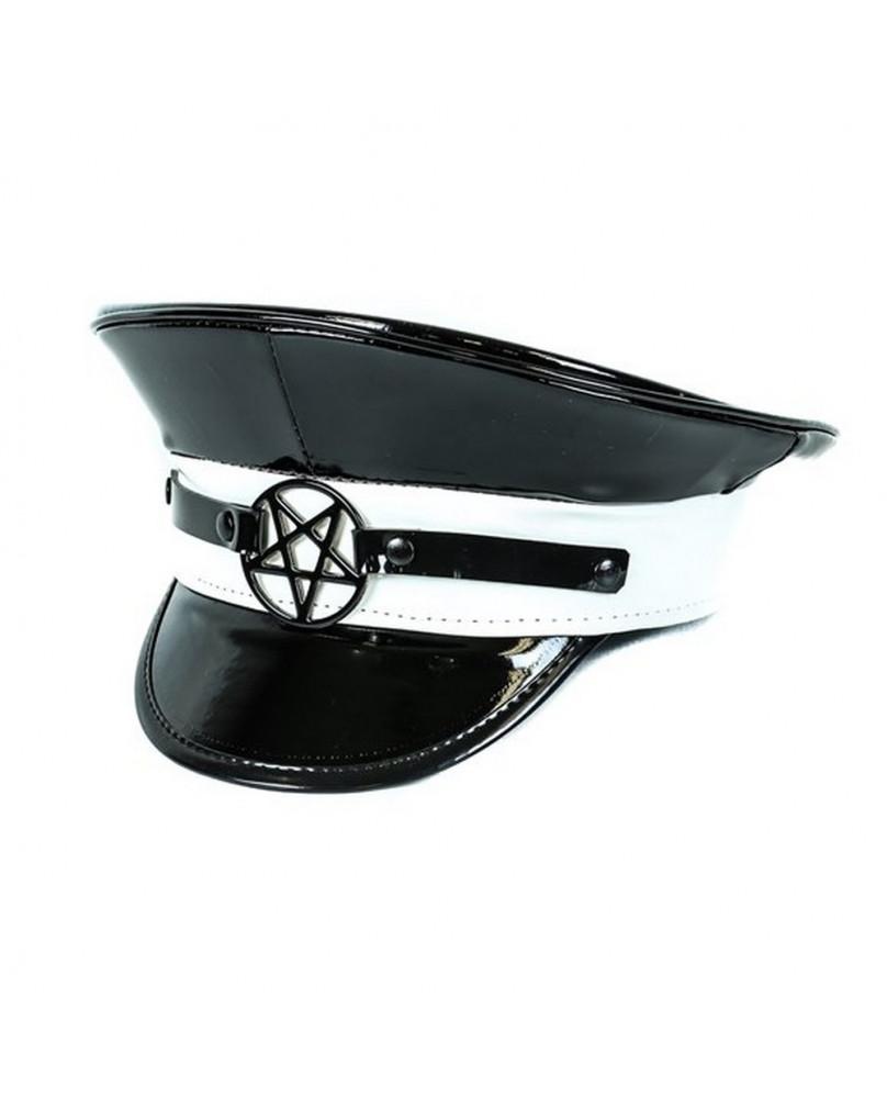 Casquette gothique cyber blanc et noire Pentacle
