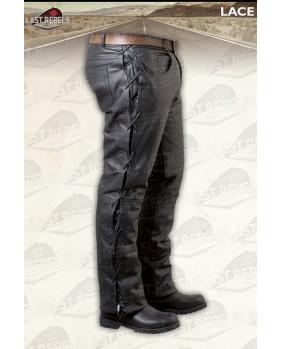 Pantalon noir à lacets en cuir de vachette