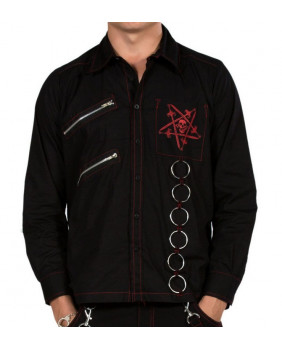 Chemise goth red Pentacle