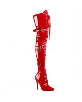 Cuissardes vernies rouges à talons aiguilles Pleaser SEDUCE-3028