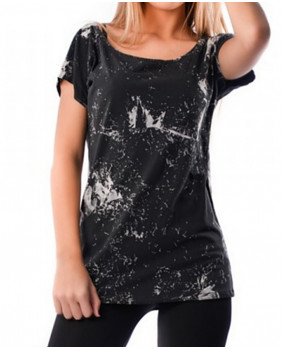 T-shirt rétro femme en coton noir