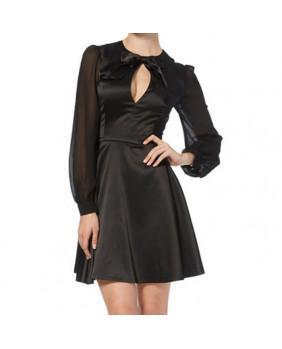 Robe satin noir Elegance