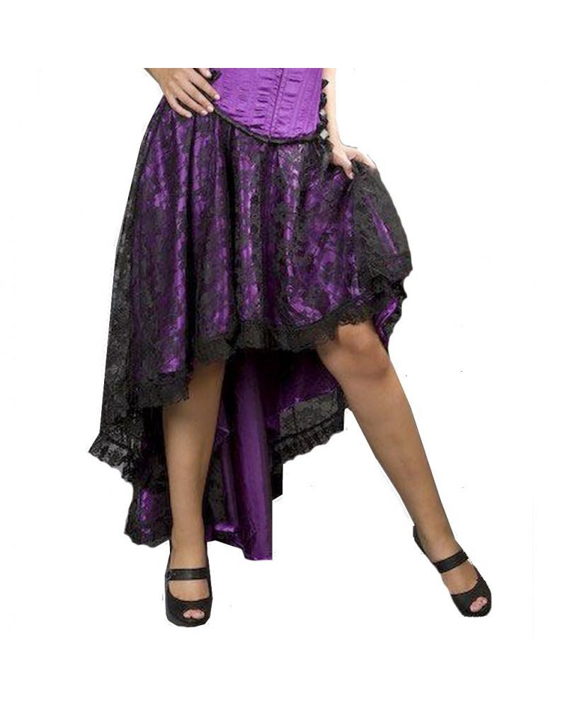 Jupe en satin violet et dentelle noire Elizium