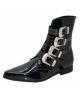 Boots Vintages rétro noires vernies en cuir Steelground