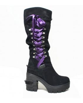 Steelground bottes compensées noires Gothiques