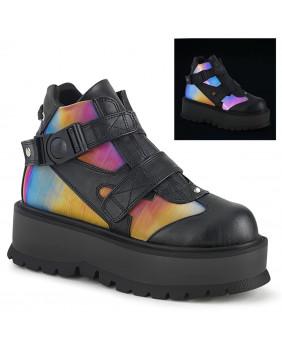 Chaussures compensées Cyber gothic noires et arc en ciel Demonia SLACKER-32