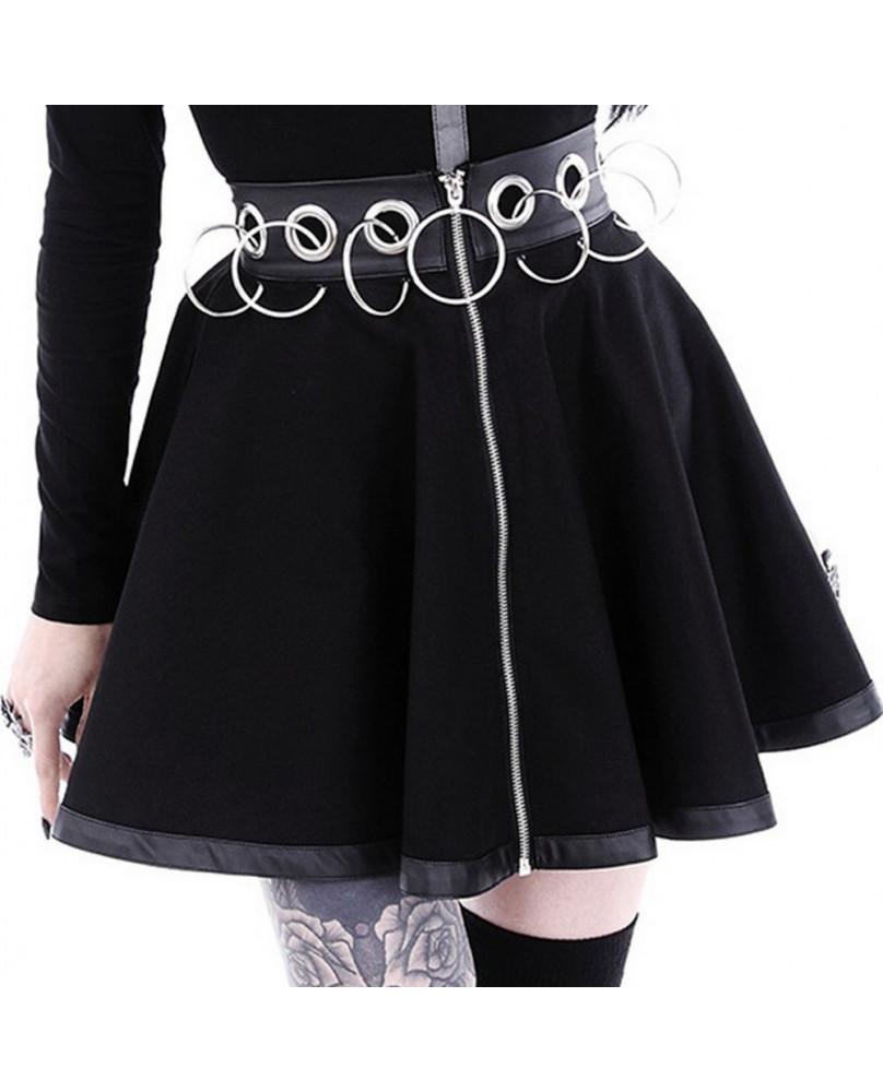 Jupe gothiques noire avec anneaux