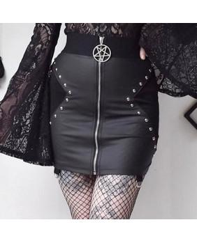 Jupe taille haute gothique métal avec pentacle
