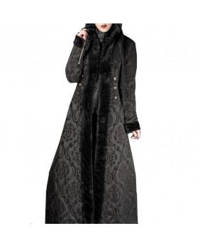Manteau long noir en jacquard avec fausse fourrure