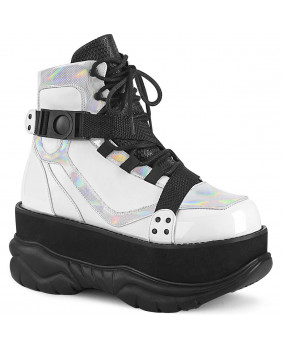 Demonia NEPTUNE-181 chaussures plateformes Cyber gothic blanches et noires