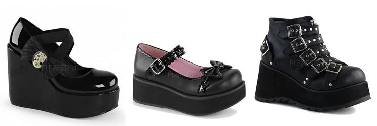 Chaussures compensées gothiques Demonia femme